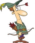 439542-Royalty-Free-RF-Clip-Art-Illustration-Of-A-Cartoon-Robin-Hood-With-An-Arrow-On-His-Forehead