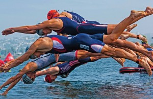 Swim Start of the F1 Triathlon in San Diego