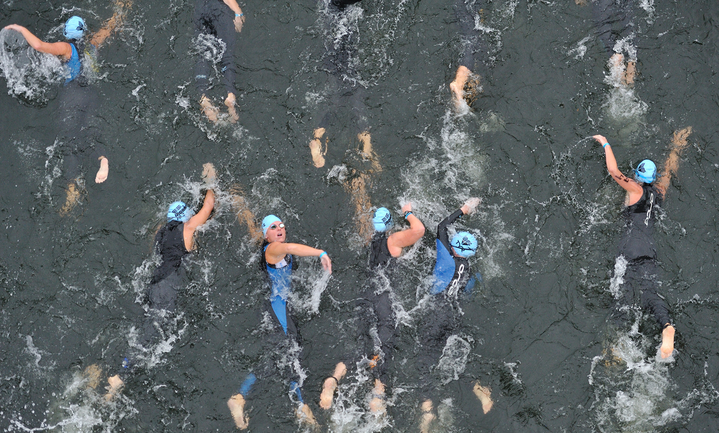 Augusta 70.3 Ironman in Augusta, Georgia. Swim scenic image from the 5th street bridge over the Savannah River